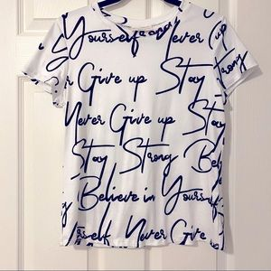 NWOT Women's graphic white tee with affirmations